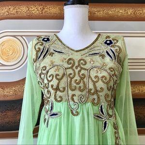 🍀Indian Party Dress Anarkali Lime Sparkly Sz 2🍀